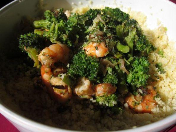 Cuscus de brócoli y gambas
