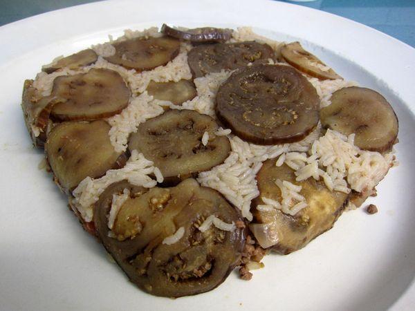 Tarta de berenjena y arroz
