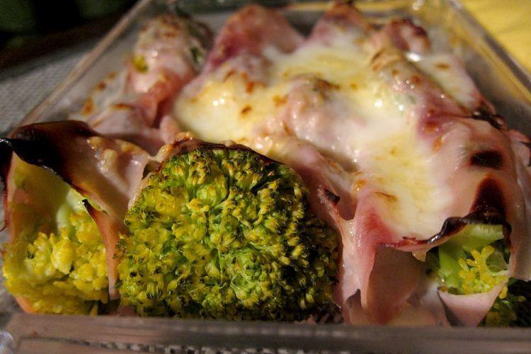 canelones de brócoli y jamón de york