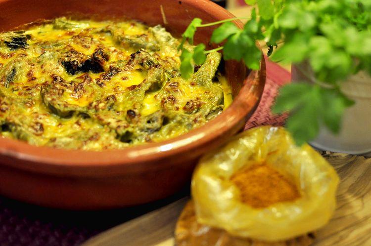 Alcachofas al horno al curry.
