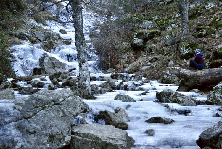 Chorrera de Mojonovalle congelada por el frío.