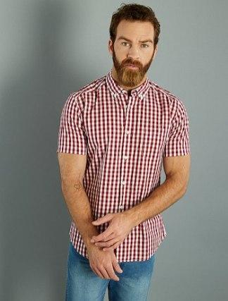 camisa-recta-de-manga-corta-de-popelina-estampada-rouge-vichy-hombre-vg909_14_fr1