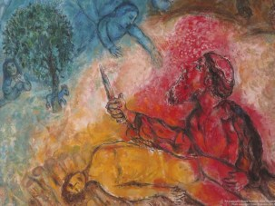 Detail from the Sacrifice of Isaac by Marc Chagall, 1960-1966; the angel tells Abraham that he need not sacrifice his son Isaac