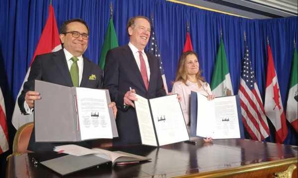 Los representantes comerciales de los tres países:Ildefonso Guajardo, Robert Lighthizer y Chrystia Freeland