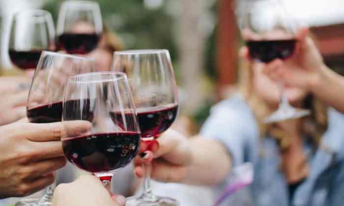 Personas brindan con copas de vino tinto
