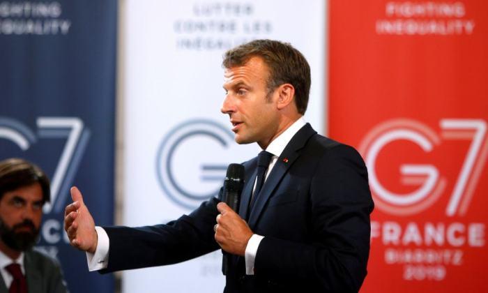 Emmanuel Macron en cumbre del G7 en Biarritz