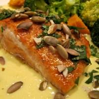 Sautéed Salmon with Creamy Corn Sauce and Toasted Pumpkin Seeds