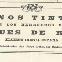 1930.- Propaganda de los vinos de los Herederos del Marqués de Riscal