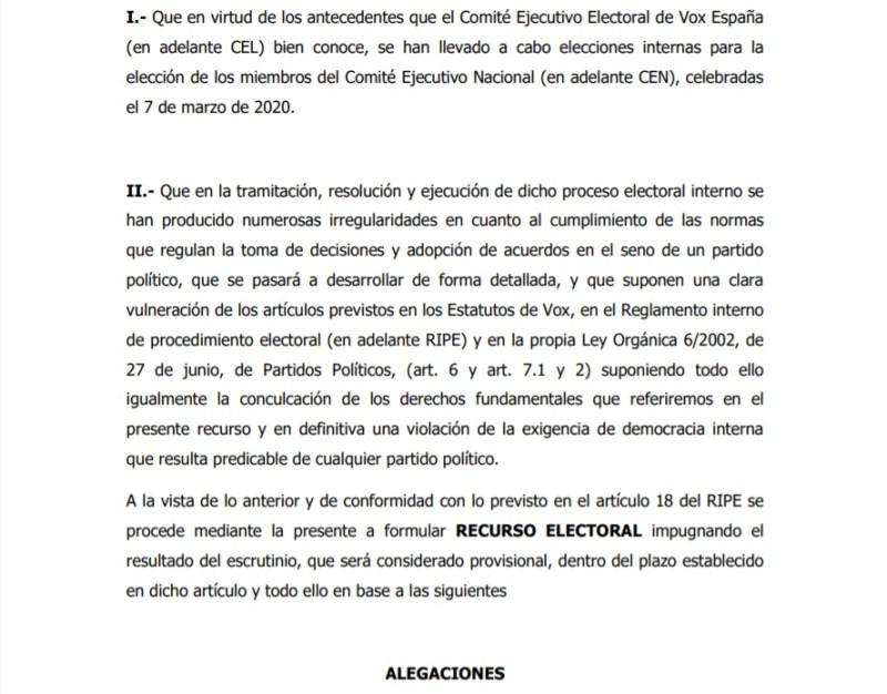 Alegaciones presentadas a modo de recurso electoral contra los procesos de primarias de Vox
