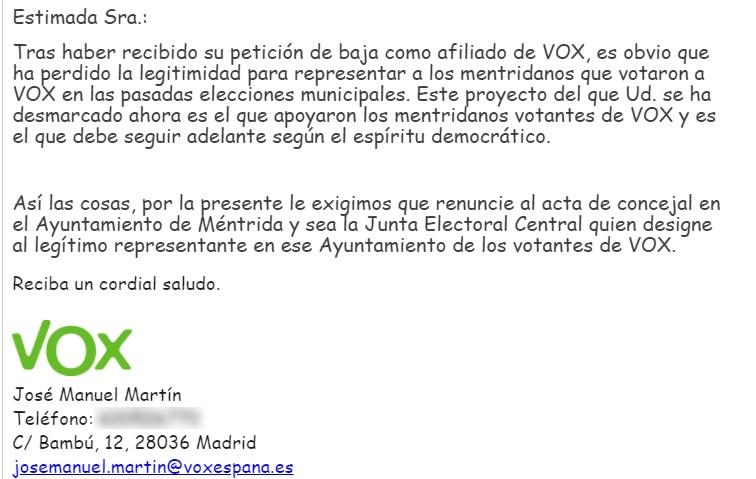 Captura del correo electrónico enviado por José Manuel Martín publicado por El Cierre Digital pidiendo la renuncia al acta como concejales de Vox