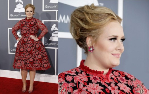 Singer Adele poses as she arrives at the 55th annual Grammy Awards in Los Angeles