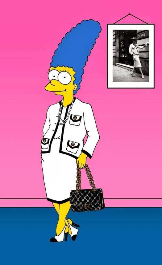 Marge Simpson Coco Chanel Art Cartoon Illustration Satire Sketch Fashion Luxury Style Iconic Dresses all the time The simspsons  Humor Chic by aleXsandro Palombo
