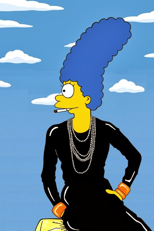 Marge Simpson Coco Chanel Famous Shot Campaign Art Cartoon Illustration Satire Sketch Fashion Luxury Style Iconic Shot Dresses all the time The simspsons  Humor Chic by al