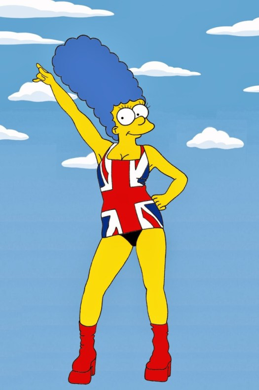 Marge Simpson Geri Halliwell union jack dress Art Cartoon Illustration Satire Sketch Fashion Luxury Style Iconic Dresses all the time The simspsons  Humor Chic by aleXsandro Palombo (2)