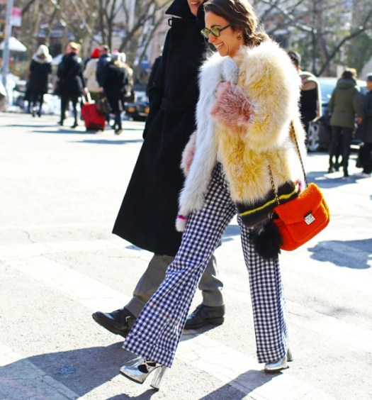 Fendi coat, bag, and shoes, vintage pants, Delfina Delettrez earrings - Delfina Delettrez