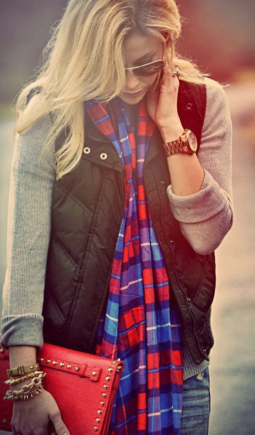 3 flannel scarf + puffer vest