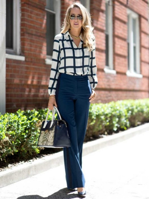 a-tommy-hilfiger-collection-high-waisted-wide-leg-navy-pants-athletic-stripe-side-flap-pockets-large-windowpane-silk-blouse-white-and-navy-tory-burch-navy-snakeskin-tote-bag-nine-west-po