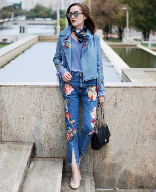 Embroidered-leather-jacket-bell-sleeve-top-embroidered-jeans-beige-suede-pumps-crossbody-bag-scarf-cute-fall-outfit-idea-Andreea-Birsan-12-686x1024