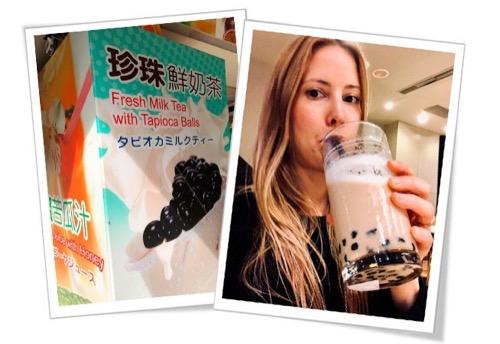 Victoria Bisogno probando un té de burbujas