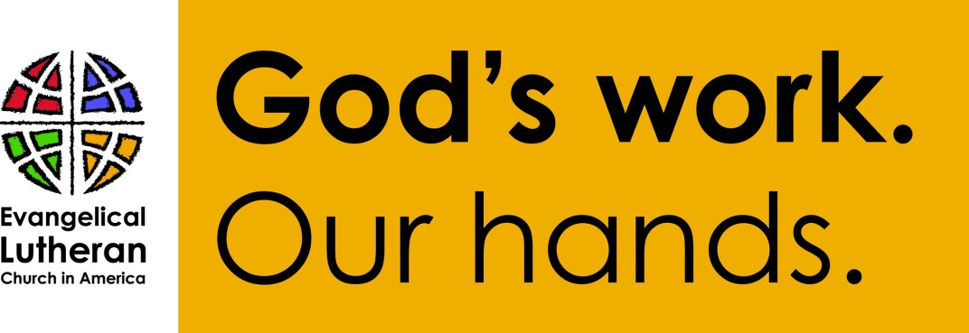"""God's work. Our hands."" Sunday Lockup - Horizontal 2015"