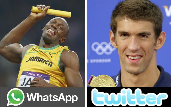 Michael Phelps, Usain Bolt, Londres 2012, Juegos Olímpicos, Twitter, WhatsApp, Facebook