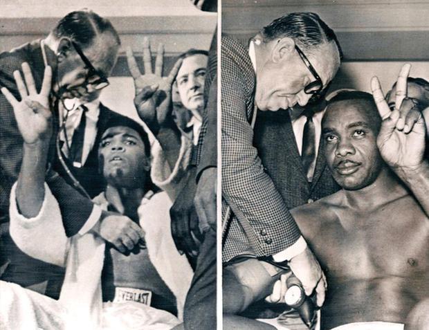 A la izquierda, Clay, indicando que la pelea terminaría en ocho asaltos, a la derecha, Sonny y su predicción.  |  Foto: Box Rec