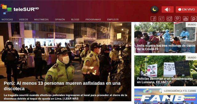"""""""La tragedia ocurrió cuando efectivos policiales ingresaron al local para proceder al cierre de la discoteca debido al toque de queda en Lima"""", reseñó Telesur."""