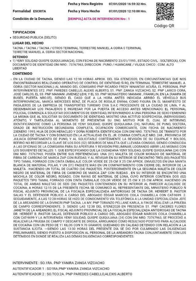 Esta es el acta policial que se generó el día de la intervención. Además de este documento, la policía antidrogas de Tacna realizó un informe detallado sobre este caso, al que accedió este Diario. (Fuente: El Comercio).