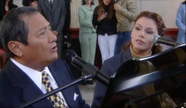 Armando Manzanero and Olga Tañón.  (Photo: RCN Television)