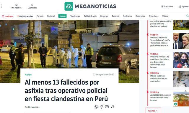 Meganoticias de Chile destaca que en Thomas Restobar se había promocionado una fiesta pese al toque de queda impuesto en Perú para controlar la propagación del coronavirus. (Foto: Meganoticias)