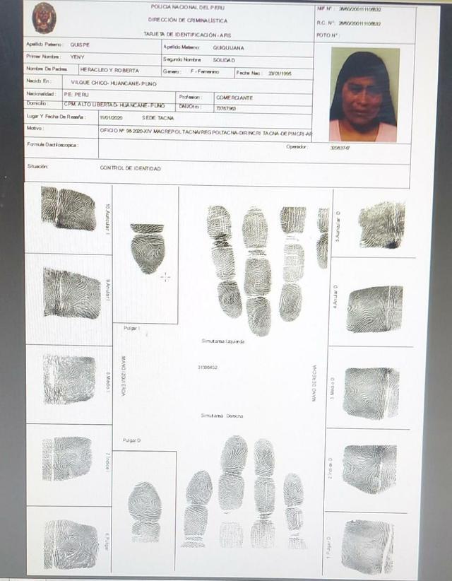 Este es el control biométrico que pasó Yeny Quispe Quiquijana en Criminalística de la PNP cuando fue detenida el 7 de enero del 2020. (Fuente: El Comercio)