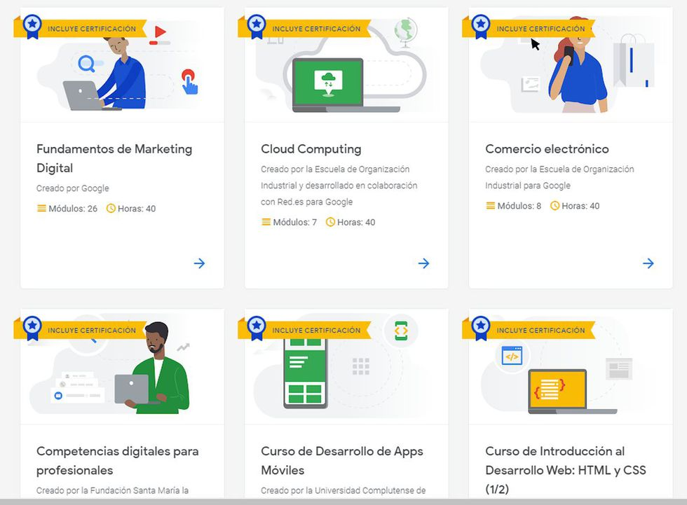 Puedes encontrar muchos cursos online en Google, todos gratuitos y con entrega de certificado (Foto: Google)