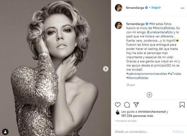 Fernanda Castillo has said that 'Mónica Robles' is the most important character in her career and she is very fond of her (Photo: Instagram / Fernanda Castillo)