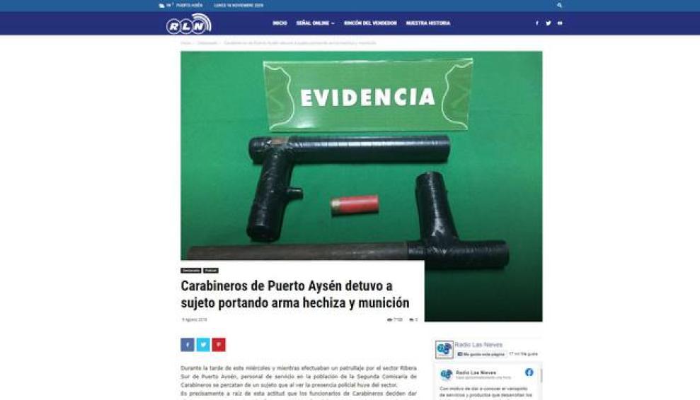 Esta es la noticia de Chile del año 2019 de donde se extrajo la foto de armas caseras atribuidas a manifestantes de Lima.