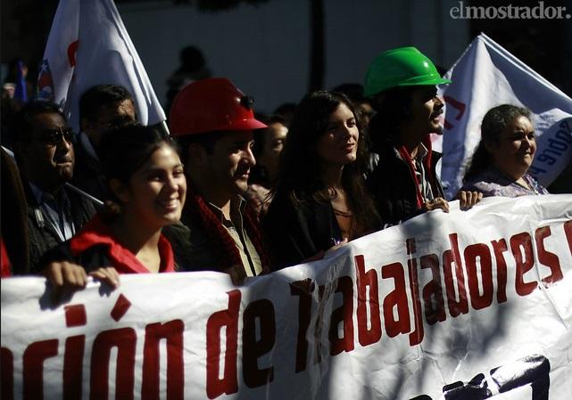 marcha por el agua 10 (Karol Cariola sec. general JJ-CC , Camila Vallejo, Cristian cuevas (todos candidatos al parlamento del Partido Comunista) )