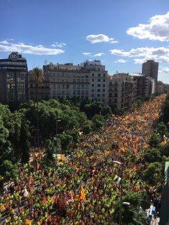 Manifestación masiva por la independencia de Cataluña