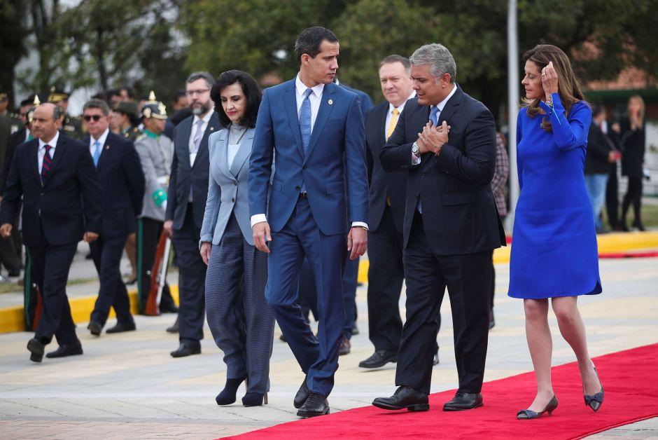 El opositor venezolano Juan Guaidó junto al presidente de Colombia, Iván Duque, y la vicepresidenta, Marta Lucía Ramírez