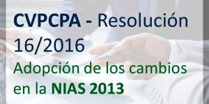 cvpvpa resolucion 16 del año 2016, adopcion de las normas internacionales de auditoria nias edicion 2013