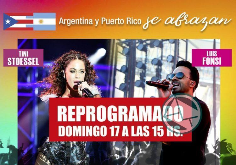 """Se reprogramó para mañana el show solidario """"Argentina y Puerto Rico se abrazan"""""""