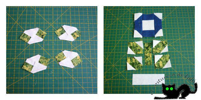 Cosemos los cuadrados blancos en los rectángulos verdes y ya tenemos las hojas
