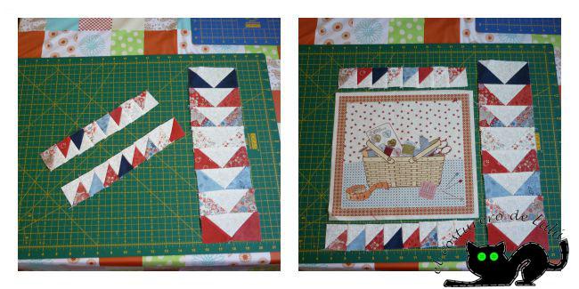 Probando mis triángulos con el panel de costura