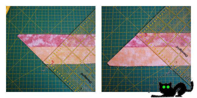Cortamos los triángulos con la diagonal de la regla