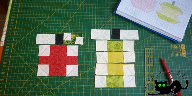 Colocamos los cuadrados blancos en las esquinas correspondientes con las diagonales dibujadas