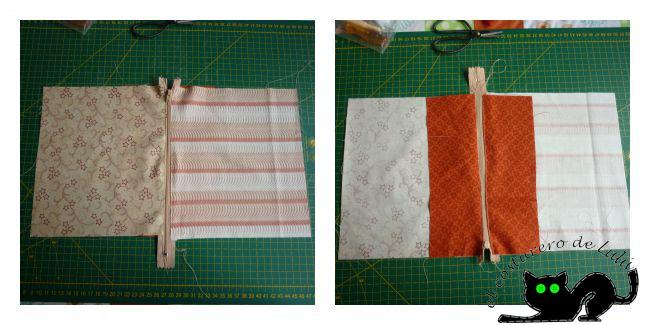 Esto es lo que obtenemos al coser la primera cremallera