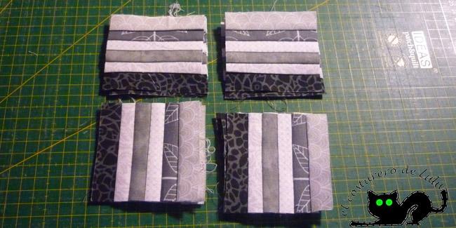 Cortamos la unión de las tiras en cuadrados