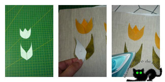 Aplicamos las telas para formar los tulipanes