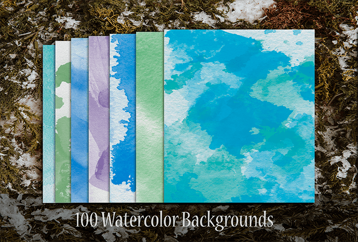 100 Watercolor Backgrounds-min