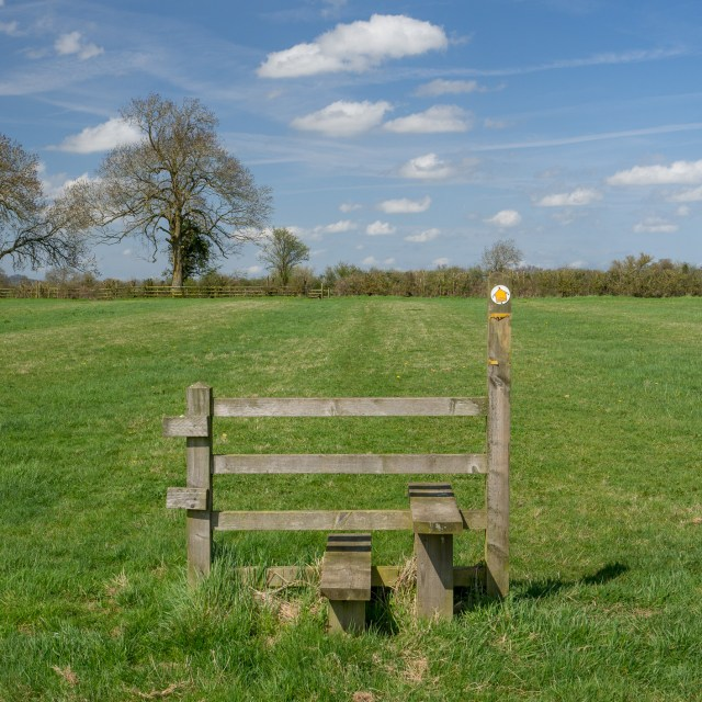 A stile with a footpath marker, in the middle of a field with no fence.