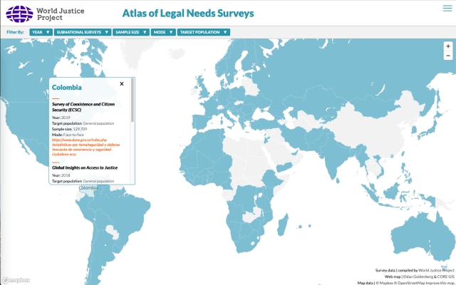 Screenshot of a world map with countries for which surveys are available in blue, and a popup highlighting Colombia's surveys as an example