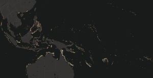 A dark map centred on Micronesia and spanning as far W as Myanmar and as far E as French Polynesia, with areas of coral, sand and seagrass in bright colours